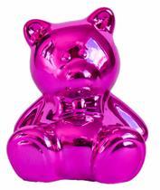 Cofre cerâmica metalizado - urso rosa - Brasfoot