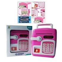 Cofre digital com senha e biometria eletronico automatico infantil impressao digital cofrinho teclado moedas nota rosa - Makeda