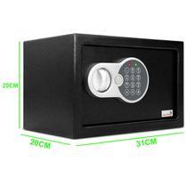 Cofre Digital de Segurança com Fechadura Eletrônica Senha e Chave Codificada Aço Preto 31x20cm - Nem Compara