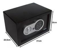 Cofre Digital Eletrônico 31x20x20 Senha Teclado Chave Residêncial Médio Importway IWCFS-004 Preto -