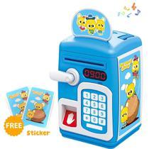 Cofre digital eletronico automatico senha e impressao digital cofrinho infantil biometria teclado moedas nota azul - Makeda