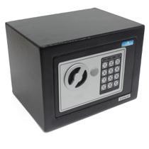 Cofre eletrônico digital em aço teclado com senha + 2 chaves (17x23x17cm) E17st - Goldmania