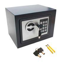 Cofre Eletrônico Digital Segredo Senha 23x17x17cm Chave Aço - Bt Shop
