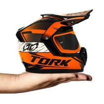Cofre mini capacete pro tork decorativo cross factory edition laranja neon -