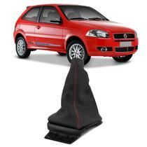 Coifa Câmbio sem Manopla Palio 1.8 06 a 12 Preto Costura Vermelha Textura Semiperfurada Base Preta - Auto Quality