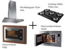 Coifa Ilha Retangular 75cm + Cooktop V500x + Forno Embutir F450 Black + Micro-ondas M230 - Fogatti -
