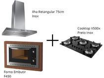 Coifa Ilha Retangular Inox 75cm + Cooktop V500x Preto Inox + Forno Embutir F450 Black - Fogatti -