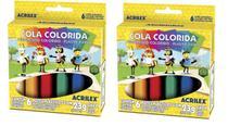 Cola Colorida 23g 6 Cores Acrilex Kit 2 Unidades -