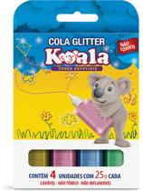 Cola com Glitter Koala 4 Cores Neon 25G Estojo Delta -