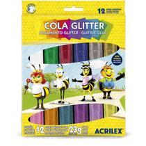 Cola com Glitter Tubo 23G. 12 Cores Sortidas - Acrilex