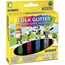 Cola gliter com 6 cores - Acrilex