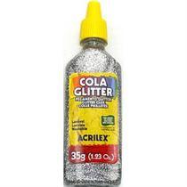 Cola glitter 35 gramas - prata - Acrilex