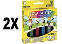 Cola Glitter 6 Cores 23g Acrilex Kit com 2 Caixas - Combo