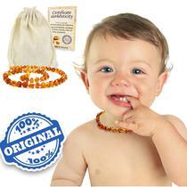 Colar Âmbar Báltico Bebê Dentição Infantil 33 Cm Certificado Mel escuro (COGNAC) - Amber Empire