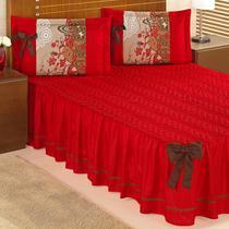 Colcha Bruna para cama Casal Vermelha com detalhe em laço - 3 Peças - Aquarela Enxovais