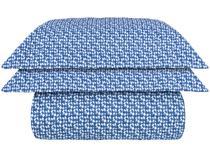 Colcha Casal Naturalle Percal 100% Algodão - 200 Fios Maresias Branca e Azul 3 Peças