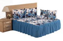 Colcha casal padrão box  linho estampado flores azul 3 peças com babado - Dg Confecções