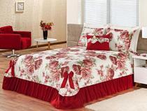 Colcha Casal Padrão Laila - Vermelho - Reluz cortinas