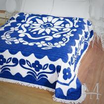 Colcha Chenille Jolitex Casal FLÓRIDA Com Franja 2,20x2,40m Azul -