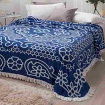 Colcha Chenille Jolitex Queen Com Franja 2,20x2,40m Azul -