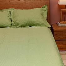 Colcha de Casal e 2 Porta-Travesseiros Ultrasonic Zig Zag Verde - ETNA