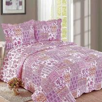 Colcha Evolution Patchwork Balan King Pink Camesa