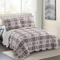 Colcha King Camesa Evolution Patchword 280x260cm Garna