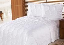 Colcha Life Clean Queen Branco Bordado Flores com 3 peças - Dupla Face - Aquarela