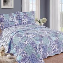 Colcha Patchwork King Balan Azul - Camesa
