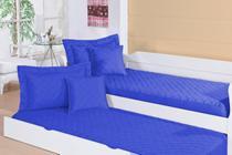 Colcha Pratic Solteiro Para Bicama Tecido Liso Matelado Com Elástico Azul - RViotto Enxovais