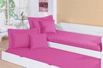 Colcha Pratic Solteiro Para Bicama Tecido Liso Matelado Com Elástico Pink - RViotto Enxovais