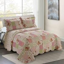 Colcha Queen Camesa Evolution Patchword 260x240cm Begonia -