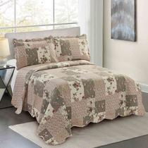Colcha Queen Camesa Evolution Patchword 260x240cm Misty -