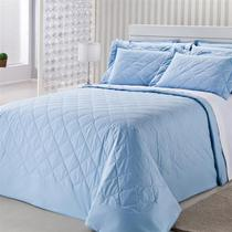 Colcha Royal Comfort Matelasse Percal 233 Fios Queen Azul Plumasul -