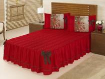 Colcha Vermelha Bruna Casal Padrão Para Quarto Casal - 3 peças - Aquarela Enxovais