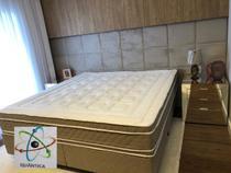 Colchão Casal (Kit Massageador)D45+Box - Suede Bege 138x188 - Semik Colchões