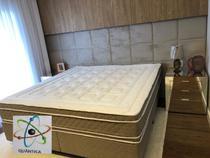 Colchão Casal (Kit Massageador)D45+Box - Suede Marrom 138x188 - Semik Colchões