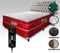 Colchão Magnético + Box + Cabeceira com Controle BioquânticoCasal Vermelho - Allmag