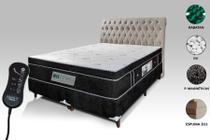 Colchão Magnético + Box + Cabeceira e Controle Massageador Queen Preto - Allmag