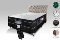 Colchão Magnético Casal Com Massageador Bioquântico Cromoterapico + Base Box + Cabeceira Preto - Allmag