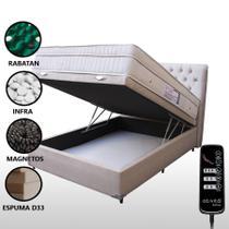 Colchão Magnético Casal Com Massageador e Controle + Base Box Baú Bege Claro - Allmag