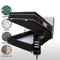 Colchão Magnético Casal Com Massageador e Controle + Base Box Baú + Cabeceira Bege Completo Preto - Allmag