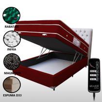 Colchão Magnético Casal Com Massageador e Controle + Base Box Baú Vermelho Vinho - Allmag