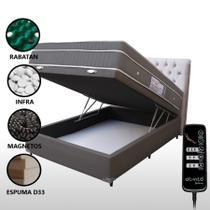 Colchão Magnético Casal Com Massageador e Controle + Box Baú + Cabeceira Bege Completo Cinza - Allmag