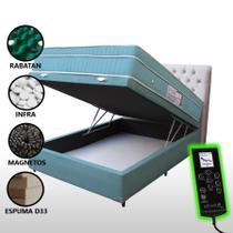 Colchão Magnético Casal Controle Massageador Cromoterapia + Box Baú + Cabeceira Completo Azul - Allmag