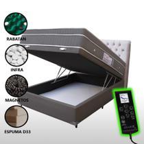 Colchão Magnético Casal Controle Massageador Cromoterapia + Box Baú + Cabeceira Completo Cinza - Allmag
