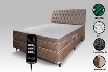 Colchão Magnético Com Controle Massageador Casal + Base box + Cabeceira Bege Escuro - Allmag