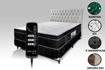 Colchão Magnético Com Controle Massageador Casal Preto + Base box + Cabeceira Branco - Allmag