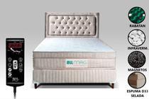 Colchão Magnético Com Massageador Bioquântico e Controle Despertador + Base Box + Cabeceira Casal - Allmag