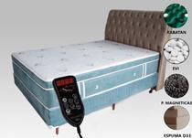 Colchão Magnético King + Box + Cabeceira Com Massageador E Bioquântico Azul Celeste - Allmag